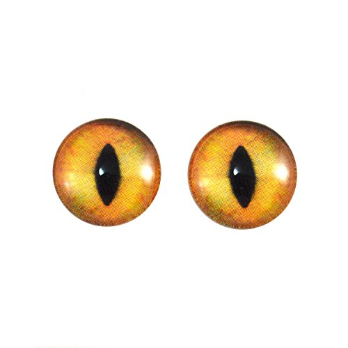 14mm Creamy Orange Cat Glass Eyes Fantasy Taxidermy Art Doll Making or Jewelry Cabochons Crafts Set of 2 -