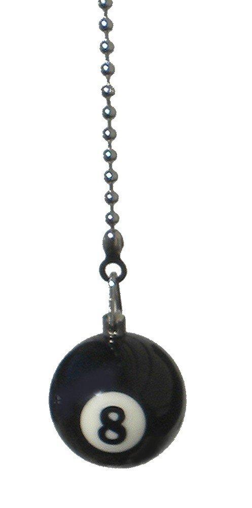 WeeZ Industries pool table Billiard Ball CEILING Fan Pull light chain (black 8 ball)