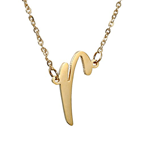 (AOLO Golden Monogram Necklace Initials R)