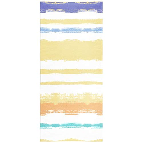 - Soopat Beach Towel,Summer Pattern Ink Sailor Stripes Blue and Brown Torn Lines Funky Trendy Hipster 30x60 Inch s Sand Free Beach Blanket for Travel Sports Beach Yoga Water Park