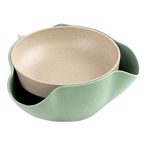 Pistachio Bowl - Double Dish Nut Bowl with Pistachios Shell Storage, Green - Happy Hours