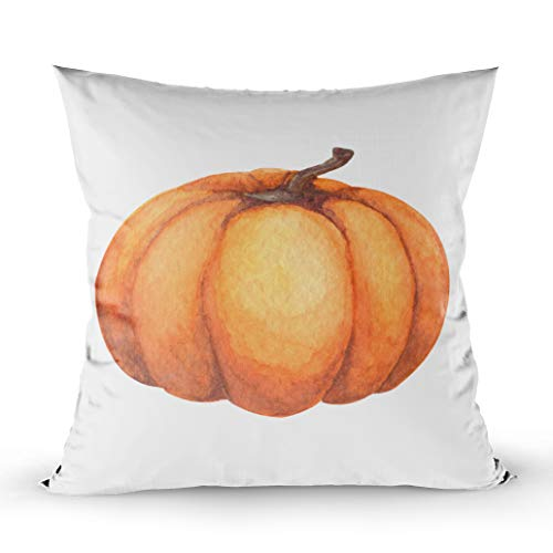 (EMMTEEY Decorative Pillows for Couch, 16x16 Pillow Covers Home Throw Pillow Covers for Sofa Pumpkin Watercolor Hand Painted Pumpkin Halloween and Fall on White Background Square Double Sided)