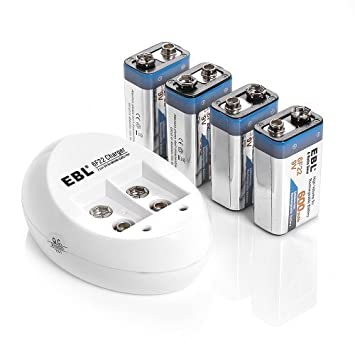 EBL ® 840 9V Cargador de Pilas con 4 Paquete de 600 mAh Li ...