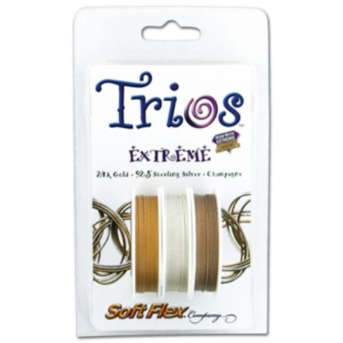 Soft Flex Trio, Extreme Bead Wire, 0.019 Inch, 10 Feet, Pack Of 3 | BDC-405.10 Extreme Beading Wire