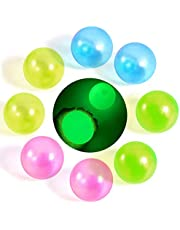 8pcs Sticky Ball Luminescent Stress Relief Balls Fluorescent Decompression Toys Balls Stick to The Wall and Slowly Fall Off Pressure Anxiety Toys for Both Kids & Adults