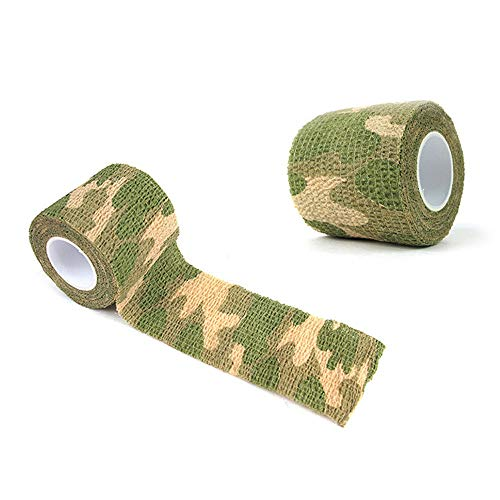Glumes Camo Duct Polyethylene Film with Cloth Carrier Backing Premium Camouflage Tape, 4.9 yds Length x 2