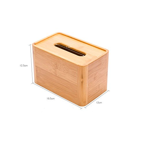 ETERLY Living Room Tissue Box Creative Home Bamboo and Wood Napkins Tray Simple Desktop Towel Tray Garden Paper Box Natural Bamboo Wood Quality
