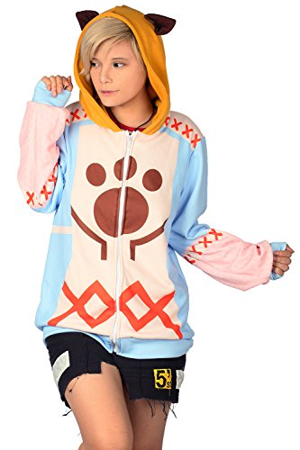 Lady's Felyne Zip Up Hoodie Deluxe Cotton Sweatshirt Monster CL Hunter Cosplay (Monster Hunter Cosplay Costume)