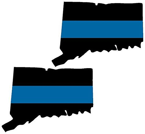 """Vinyl Overlays 720 2-3"""" CT Connecticut State Thin Blue Line Decal Set Police Sheriff Sticker Car Bumper Window"""
