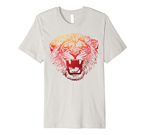 Mens Slim-Fit Scary Lion Animal Costume Halloween Shirt Small Silver - Good Husband And Wife Halloween Costumes