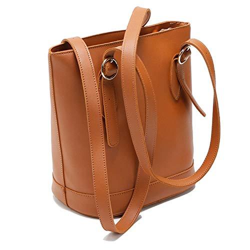 Shoulder Bag Beaded Leather (Simple Fashion Women Bucket Bag PU Leather Shoulder Bags Ladies Handbags Tote,brown,26x26x16cm)