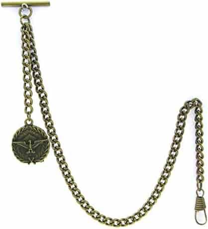Albert Chain Pocket Watch Curb Link Chain Antique Brass Plating Fob T Bar AC22