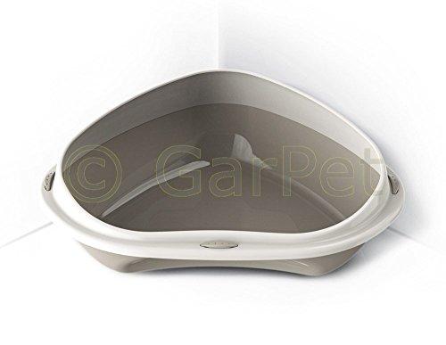 Katzentoilette Ecktoilette mit Rand Katzenklo Katzen Eck Toilette WC (grau)