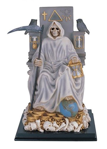 12 Inch Sitting White Santa Muerte Saint Death Grim Reaper Statue