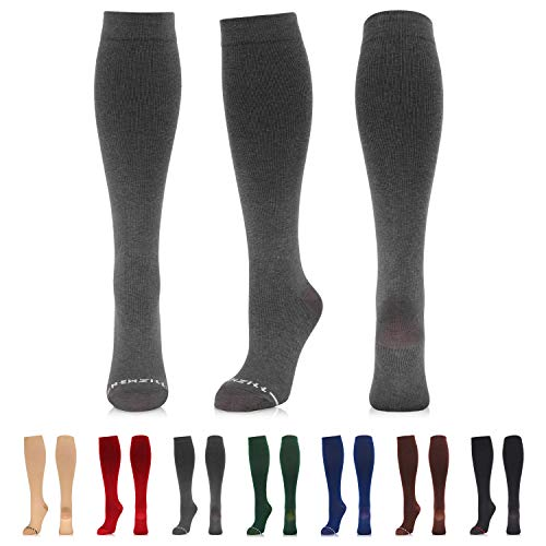NEWZILL Compression Dress Sock (15-20 mmHg) for Men & Women - Cotton Rich Comfortable Socks - Best Stockings for Business Casual, Running, Medical, Athletic, Edema, Diabetic (Gray, S/M)