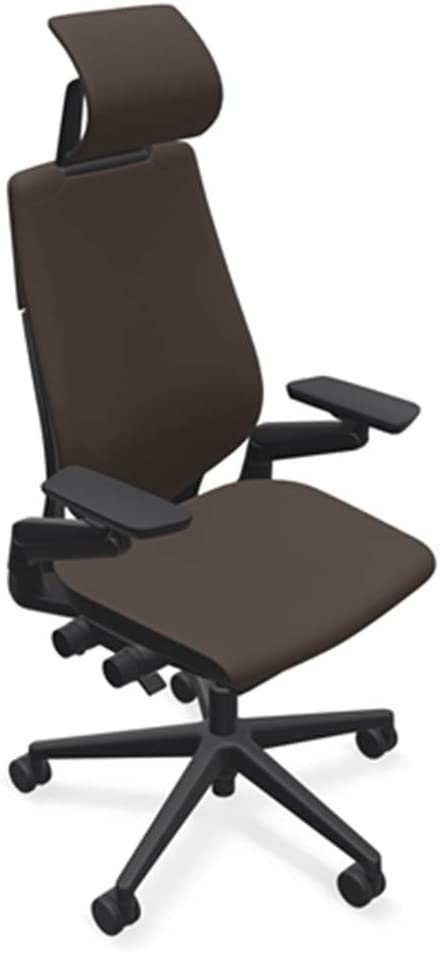 Steelcase Gesture Office Desk Chair with Headrest in Elmosoft Genuine Espresso L133 Leather Plus Lumbar Support Low Black Frame