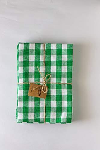 Cotton Dinner napkinDinner napkins, Gingham Checks Green and White, Pack of 6, 100% pure cotton, 18
