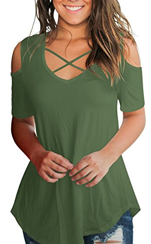 SLIMMING GRIL Women Shirts Loose Tunic Cold Shoulder Cut Out Short Sleeve V Neck Tops Army Green XL ()