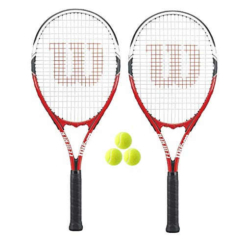 Red/White Bundle Options Wilson Federer Tennis Racquet 2 Rackets + ...