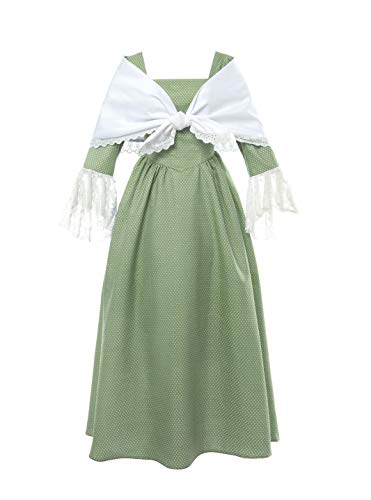 (ROLECOS Pioneer Prairie Colonial Dress Civil War Reenactment Dress with Shawl for Women Green XXL)