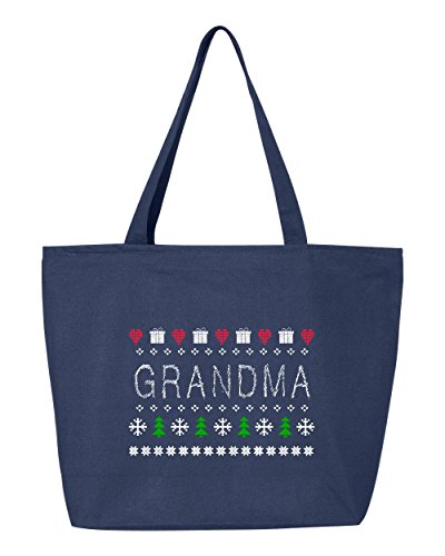 Shop4Ever Grandma Heavy Canvas Tote with Zipper Cross Stitch Reusable Shopping Bag 12 oz Navy -Pack of 1- Zip