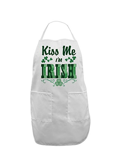 TooLoud Kiss Me I'm Irish St Patricks Day Adult Apron - White - One-Size