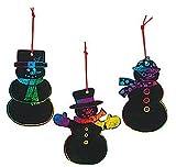 Magic Color Scratch Snowman Christmas Ornaments (24 Pieces)