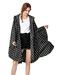 SogetsuYo Womens Stylish Hooded Waterproof Raincoat with Zipper Outdoor Rain Jacket Poncho
