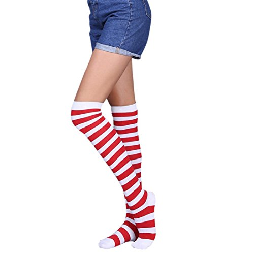 Qisc Rainbow Striped Socks, Teen Girls Over Knee Thigh High Extra Long Stockings (B) ()