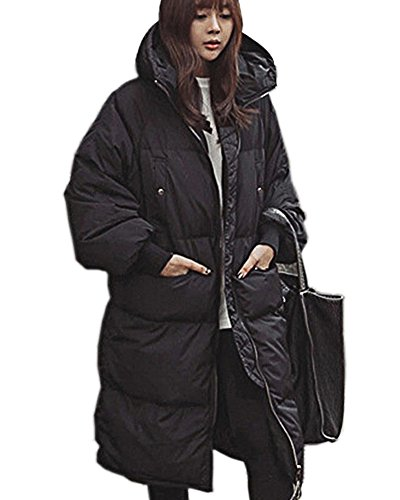 Aofur Women's Plus Size Winter Warm Long Thick Down Hooded Parka Coat Cardigan Zip Jacket Top Fashion Overcoat Outwear (Medium, ()