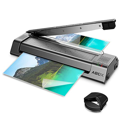 ABOX A3 Thermal Laminator Machine OL381 for A3/A4/A6, Two Roller System, Jam-Release Switch, Cutter and Safety Lock,Fast Warm-up, Quick Laminating Speed for Home/Office/School, with 16 Pouches (Black)