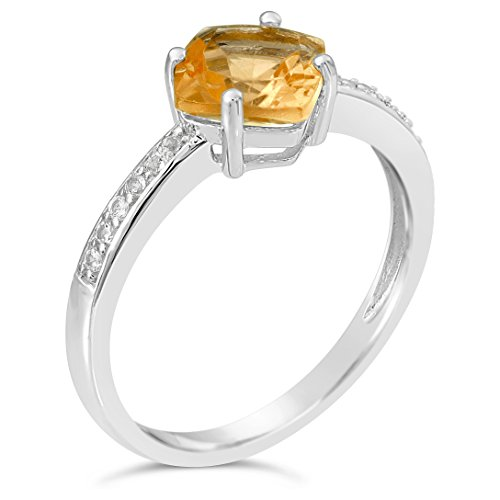 Sterling Silver Citrine and White Topaz Ring, Size 8