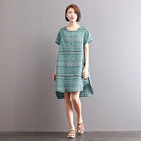 XiaoGao Falda Larga de algodón a Rayas Vestido tee Dress Casual ...