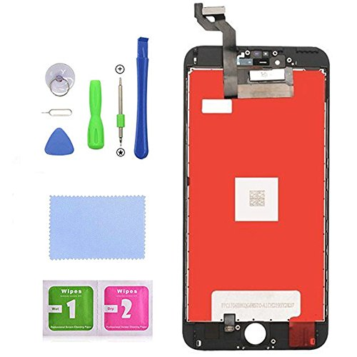 for iPhone 6s Plus Screen Replacement LCD Display LCD Touch Screen Digitizer Replacement Full Assembly with Repair Tool Kit (Black, iPhone 6s Plus)
