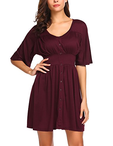 Beyove Women's V Neck 1/2 Sleeves Button Down Empire Waist Kimono Pleated Summer Dress Wine Red M