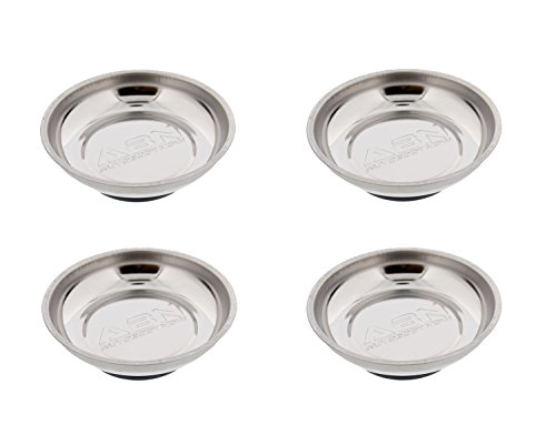 ABN Magnetic Tool Tray Round 5.5'' Inch Tray – Stainless Steel 4-Pack by ABN