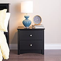 Modern Sonoma DC-2422 Bedroom Night Stand/Table with 2-Drawer, Black Finish