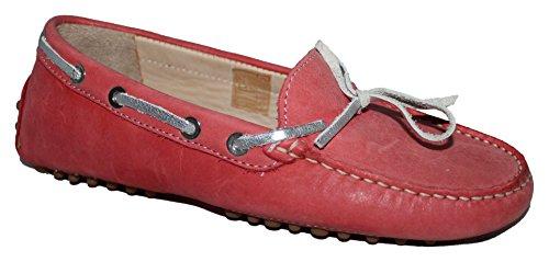 Ability & Style Damen Slipper Mokassins Softnubukleder Magenta Rot Coral
