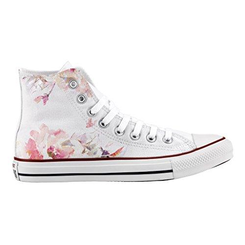 Converse Personalizzate All Star Alta - scarpe artigianali - stampa Light flowers