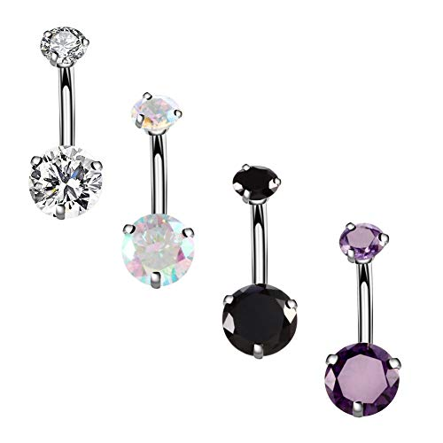 YHMM 14G Surgical Steel Belly Button Rings Round Cubic Zirconia Navel Barbell Stud Body Piercing 2-6 Pcs (4 Pcs Colorful+Clear+Black+Purple) (Crystal Stone Belly Button Rings)