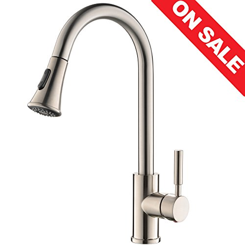 New KINGO HOME Commercial High Arch Stainless Steel Single Lever Pull Down Sprayer Brushed Nickel Pu...