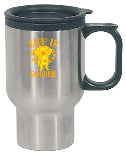Breed Stainless Steel Travel Mug - Funny Labrador Retriever - Life Is Golden - Canine Dog Breed Humor - Stainless Steel Travel Mug
