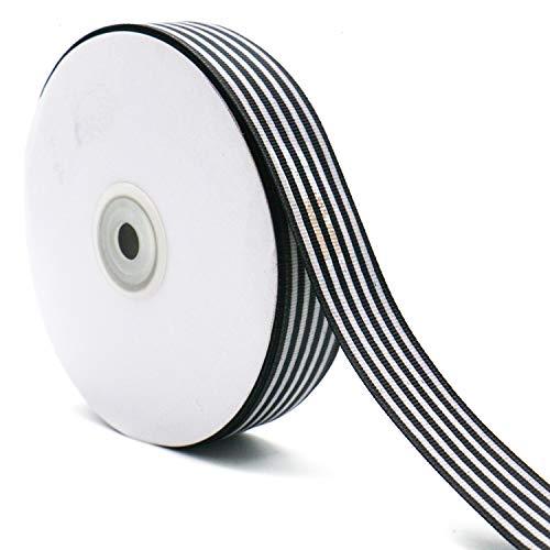 WEFOO 1 Inch by 50Yard /Spool Black and White Striped Grosgrain Ribbon/Gift Wrap Ribbon for DIY Crafts and Gift Wrapping ()