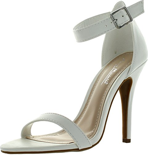 Anne Michelle Womens Enzo-01N Party Pumps Sandals,White-Pu,11
