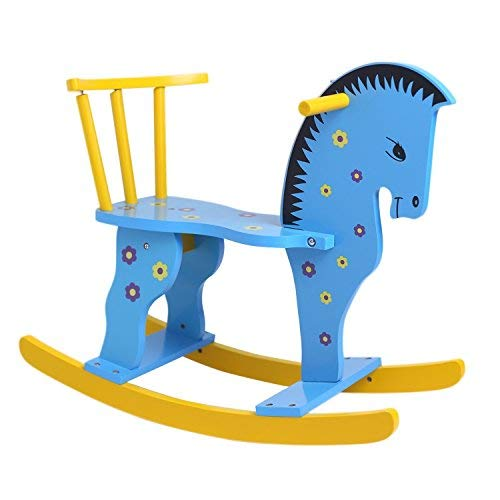 Hollyhome Wooden Rocking Horse Rocking Rider Ride On Horse Blue
