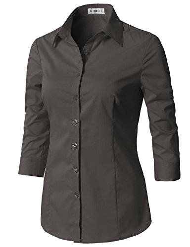 CLOVERY Women's Basic Stretchy 3/4 Sleeve Slim Fit Button Down Collared Shirt Charcoal L