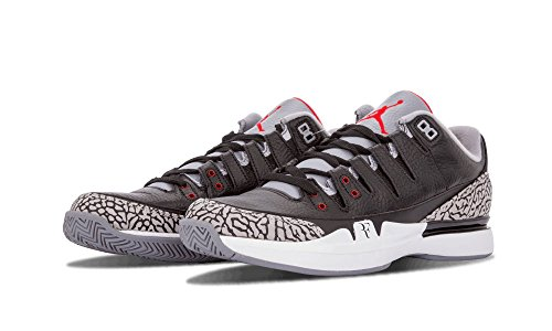 1fb03f1f67c83 Nike Mens Zoom Vapor AJ3 Black White-Cement Grey Leather ...