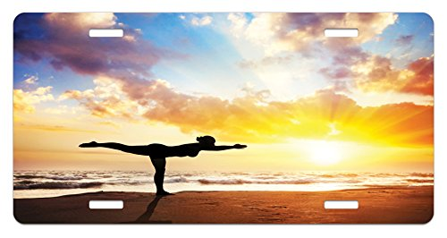 Yoga License Plate by Ambesonne, Warrior Pose by Woman in Silhouette with Majestic Sunset Sky Virabhadrasana Practice, High Gloss Aluminum Novelty Plate, 5.88 L X 11.88 W Inches, - Woman Silhouette Sunset