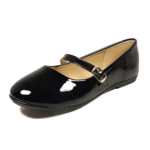 Nova Utopia Toddler Little Girls Dress Ballet Mary Jane Bow Flat Shoes,NF Utopia Girl NFGF060New Black 13 Jane Black Shoes