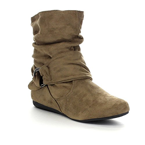 Beston Forever Selena-58 Women's Fashion Mid Calf Flat Heel Side Zipper Slouch Boots Taupe 9